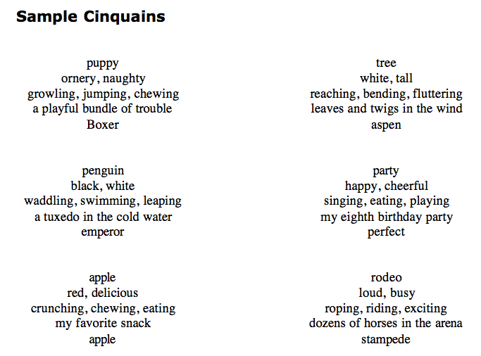 examples of cinquain poems - Google Search | Projects to Try ...
