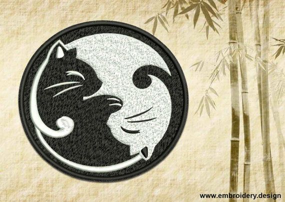 Yin Yang with couple of kittens embroidery design  by EmbroSoft