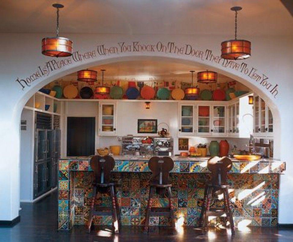 cute colorful spanish style kitchen interior design