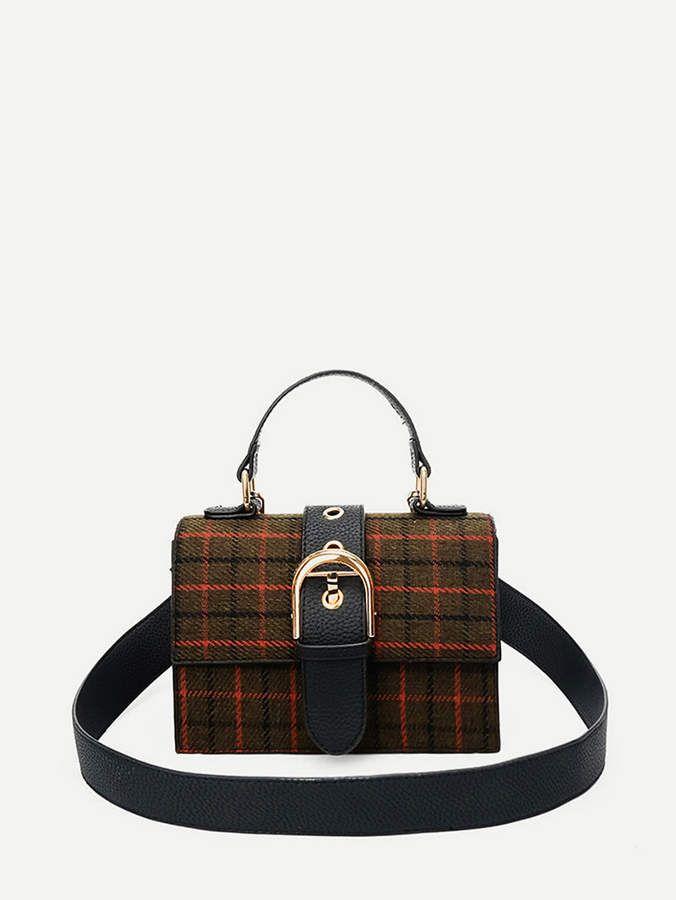 325985b76e42 Metal Buckle Plaid Satchel Bag. #ad #ShopStyle #shein #fashion #style #bags  #satchelbags