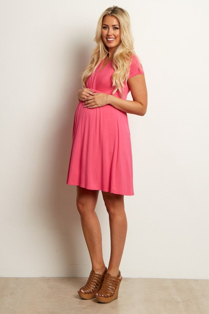 98fbaea8372 Look no further for a cute maternity nursing dress you can look and feel  great in. This classic draped front style makes nursing easy with a  v-neckline and ...