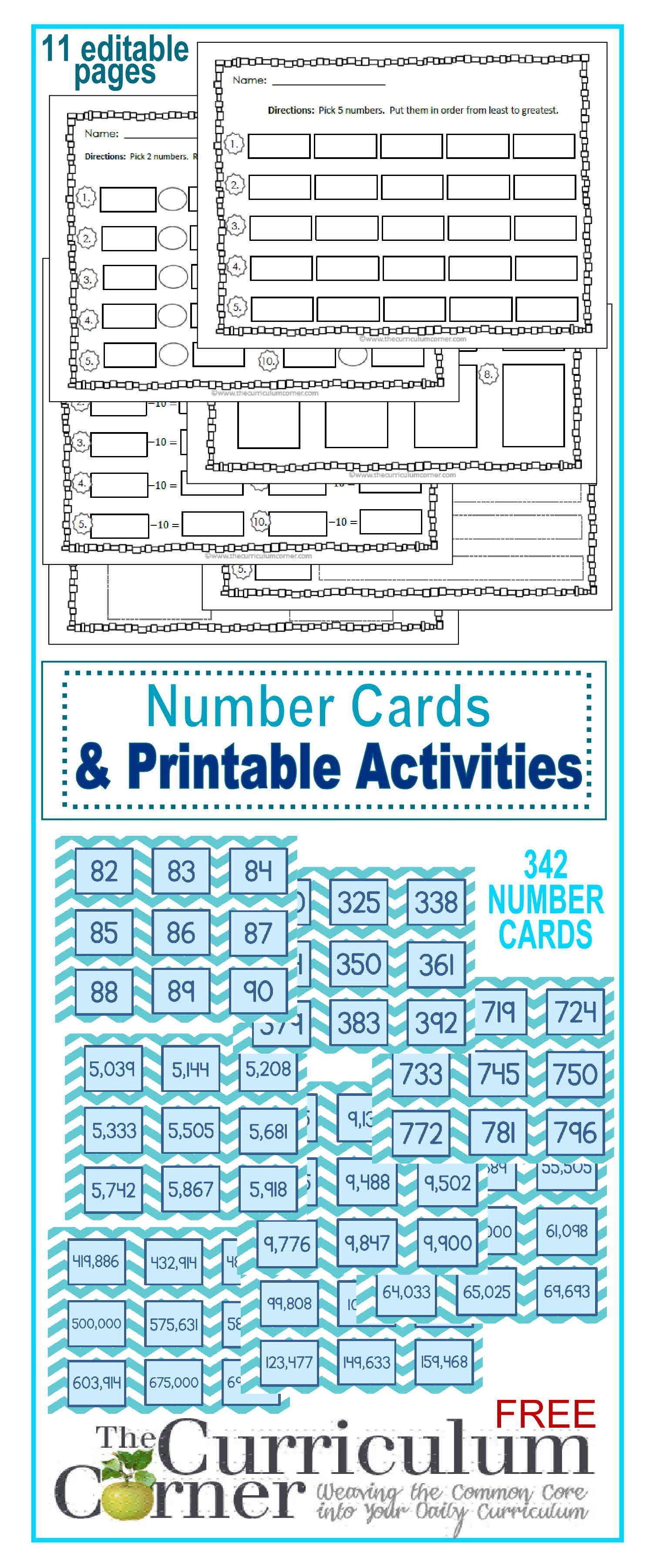 Number Cards & Printable Activities | Pinterest | Number, Curriculum ...