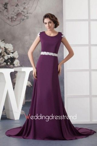 $156 + free shipping Gorgeous Sheath Scoop Neckline Cap-Sleeves Mother of the Bride Dress