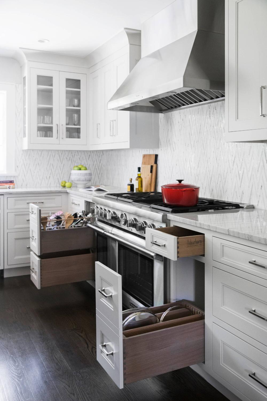 Storage Hub around Range Transitional Kitchen New