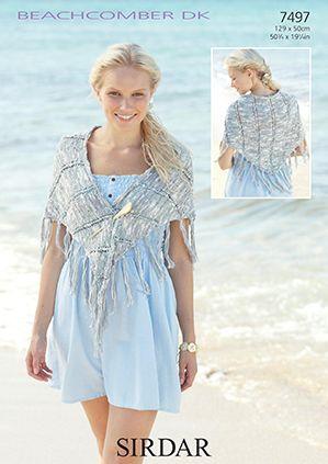 Sirdar Beachcomber Dk 7497 Shawl Knitting Pattern Beachcomber Dk