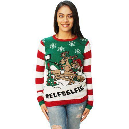 Ugly Christmas Sweater Women\u0027s Elf Selfie Pullover Sweater Ugliest