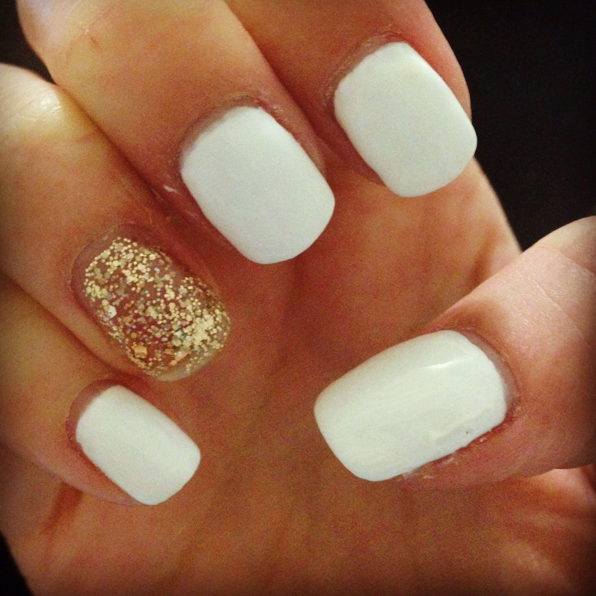 White And Gold Shellac Nails Nails Inspiration Hair And Nails
