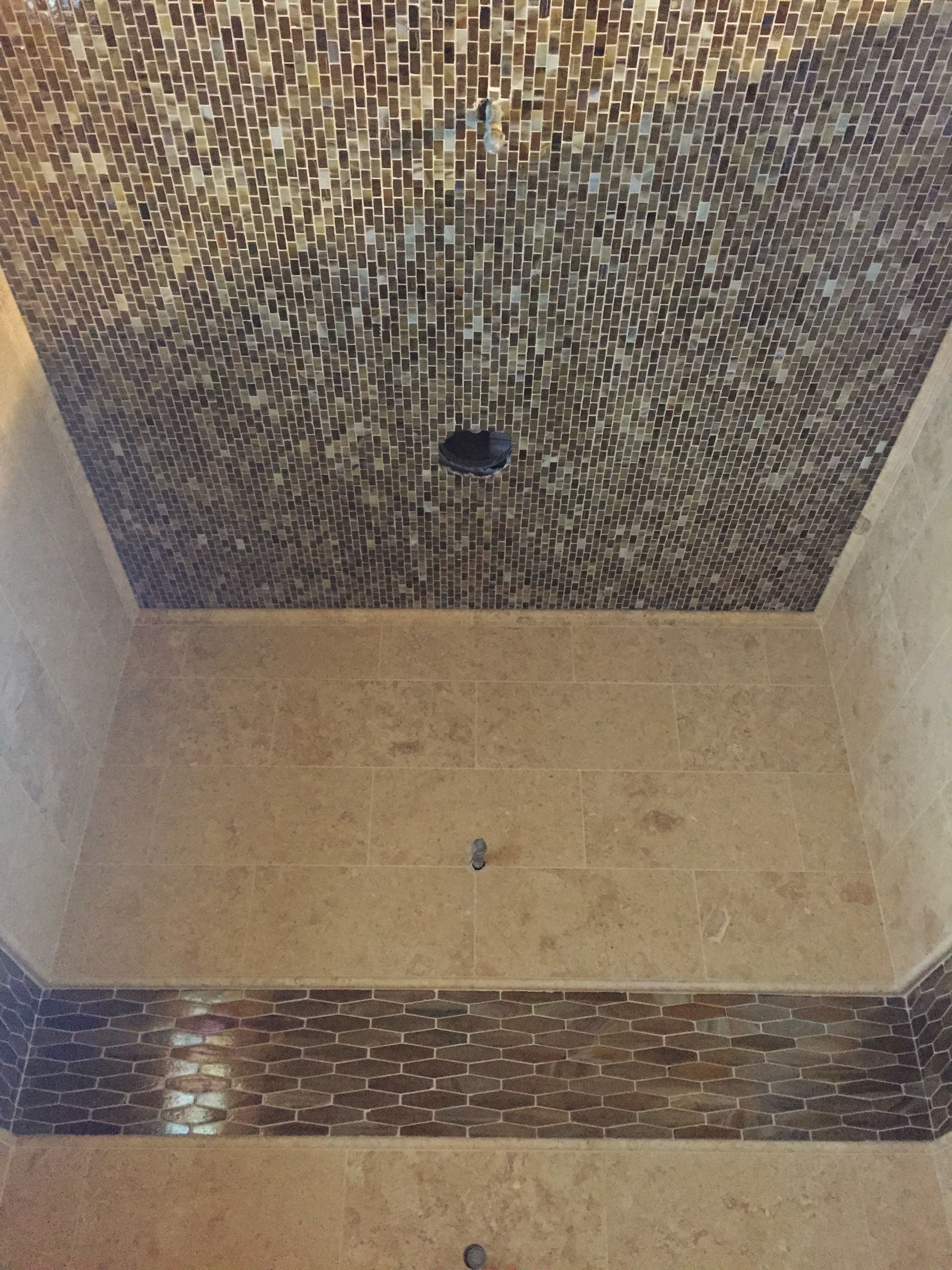 Master Bath Steam Shower With 12x24 Travertine On Walls And Glass E Hex Accent And Glass Mini Brick On Ceiling Steam Showers Travertine Glass