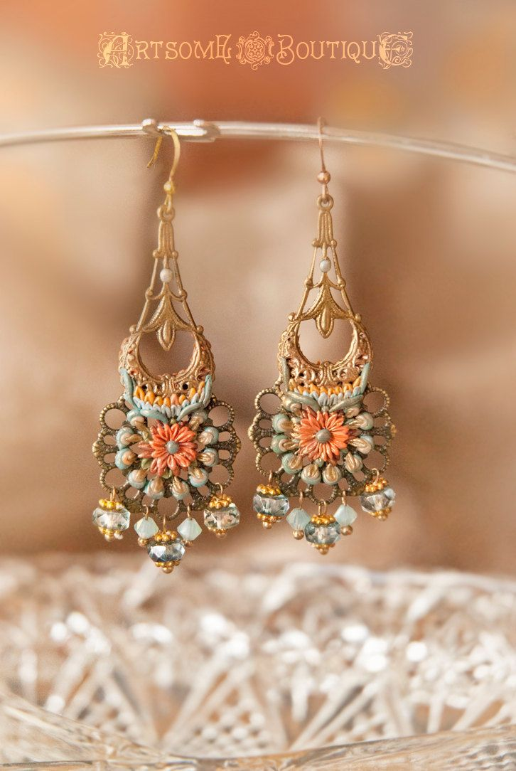 Middle Eastern Polymer Clay Earrings Bronze Filigree Boho Indian Gypsy