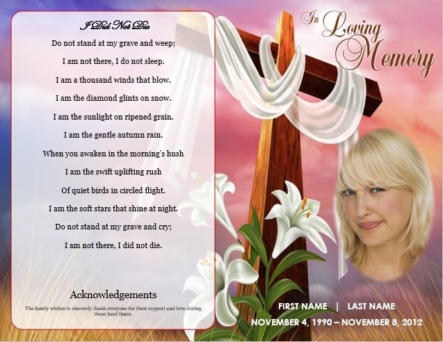 Funeral Program Template Cross Theme Memorial Service Template