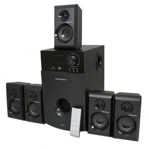 New 5.1 Multimedia Powered Home Theater Surround Sound Speaker System TS514 by Theater Solutions. $99.99. SpecificationsNew 5.1 / 2.1 Switchable Home Theater Multimedia Speaker SystemPower Rating: 600 Watts RMS System PowerBuilt in TunerFrequency Response: 40Hz - 20KHzDistinctive Design: Features high tech design to dampen distortion and deliver crisp clear responseAdditional Features: Pro Logic function for incredible Surround Sound, Stand By function, Infa-red remote sensor ...