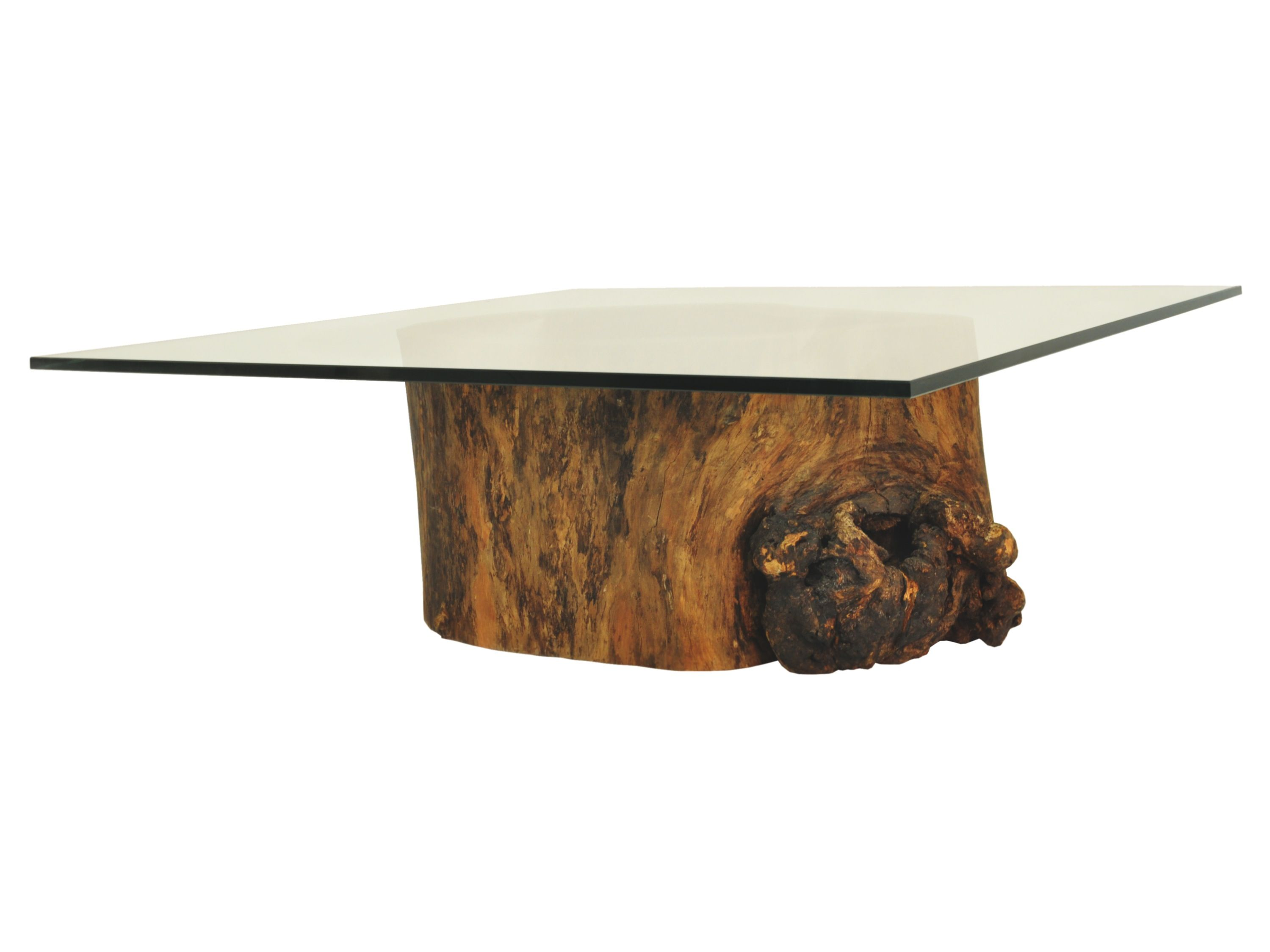 Hollow Trunk Coffee Table Square Glass Top Coffee table base made
