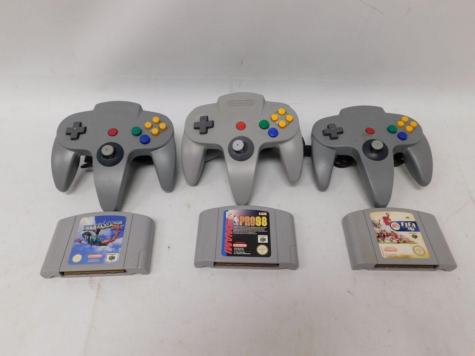 3 NINTENDO 64 N64 Games & 3 Controllers Bundle PILOT WINGS