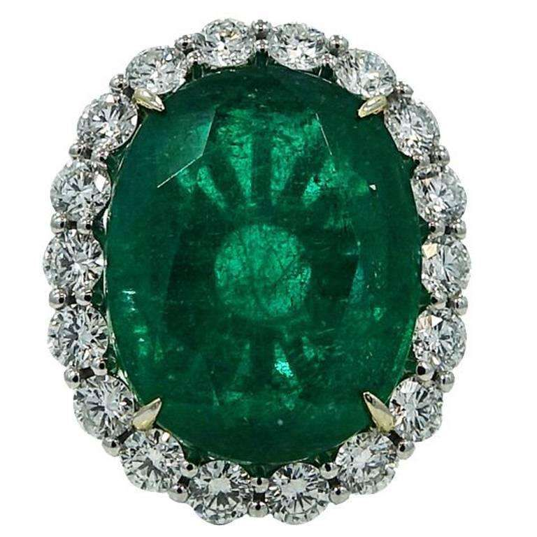 19.78 Carat Center Oval Cut Emerald Diamonds White Gold Ring 1