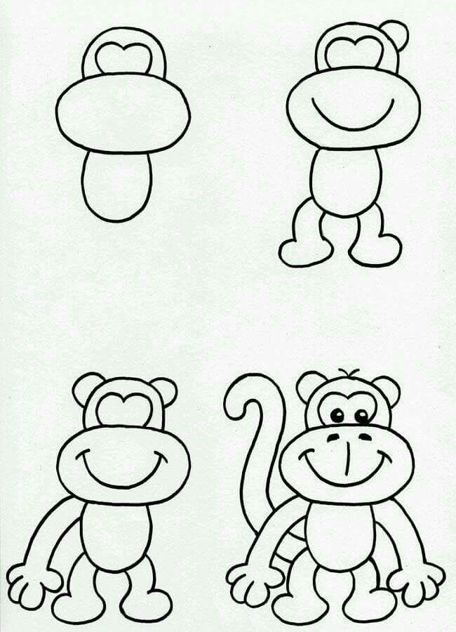 How To Draw Monkey Monkey Drawing Cartoon Drawings Of Animals Monkey Drawing Easy