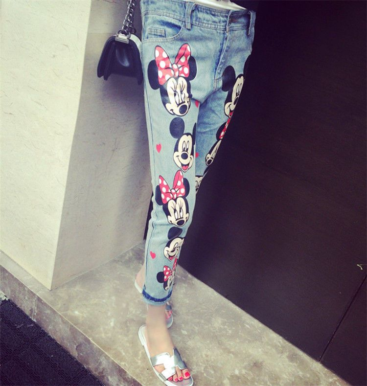 Women Jeans Cartoon Female Denim Pants Capris Mickey Mouse Jeans Free Shipping Mickey Mouse Outfit Minnie Mouse Jacket Mickey Clothes