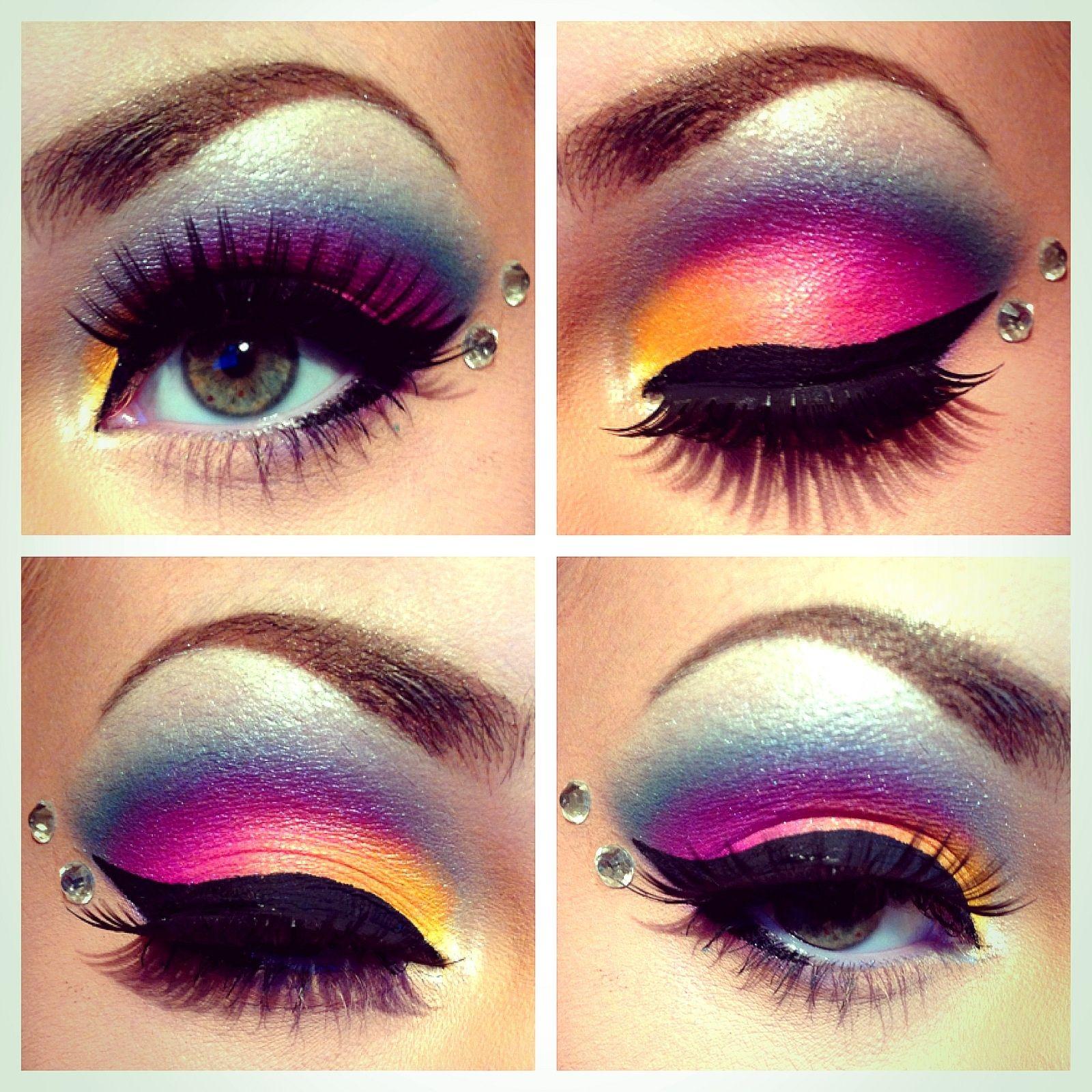 Lisa frank inspired eye makeup