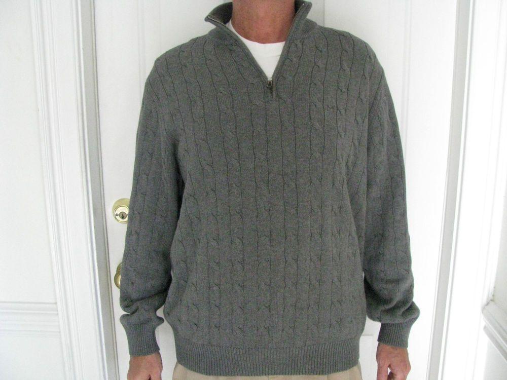 Michael Kors Men's 1/2 Zip Gray Cotton Cable Knit Sweater Size XL  #MichaelKors #12Zip
