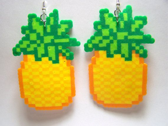 Pineapple Perler Dangle Earrings Cute Kawaii Fruit