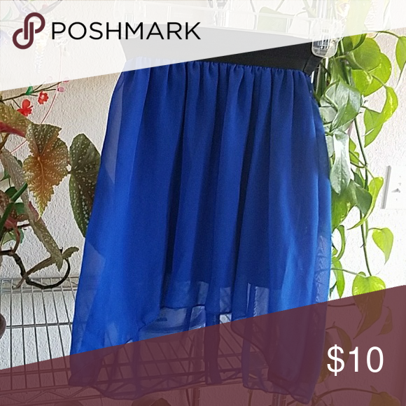 Skirt Adorable high low skirt, fully lined. Purched from fellow posher. This cutie is perfect for a night on the town. Elastic waist measures 20 Length front  16.     Back  20 Basic Necessities  Skirts Mini