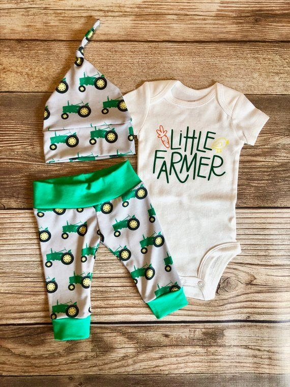 Photo of Little Farmer Green Tractor Coming Home Outfit, Tractor Baby Outfit, Farm baby outfit, little farmer, baby farmer, country baby, going home