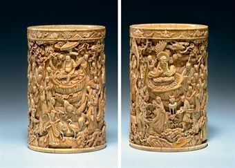Carved brush pot of ivory, 17-18th century