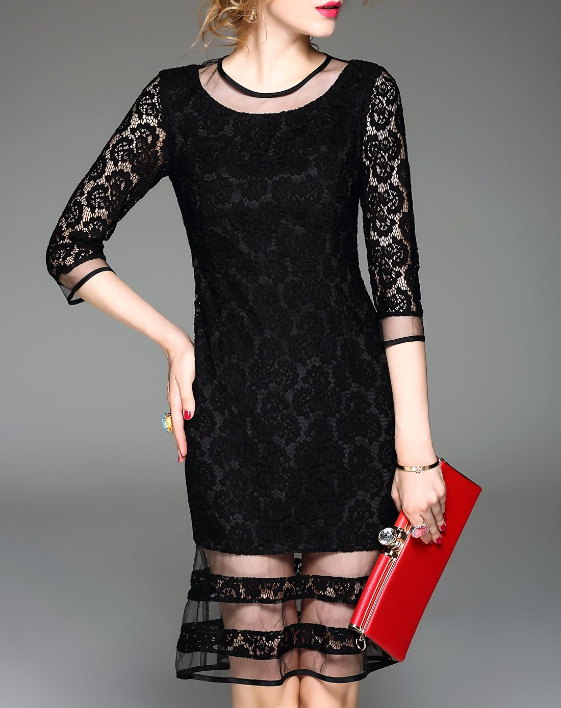 Adorewe too tang black sexy lace semi sheer peplum hem mini dress
