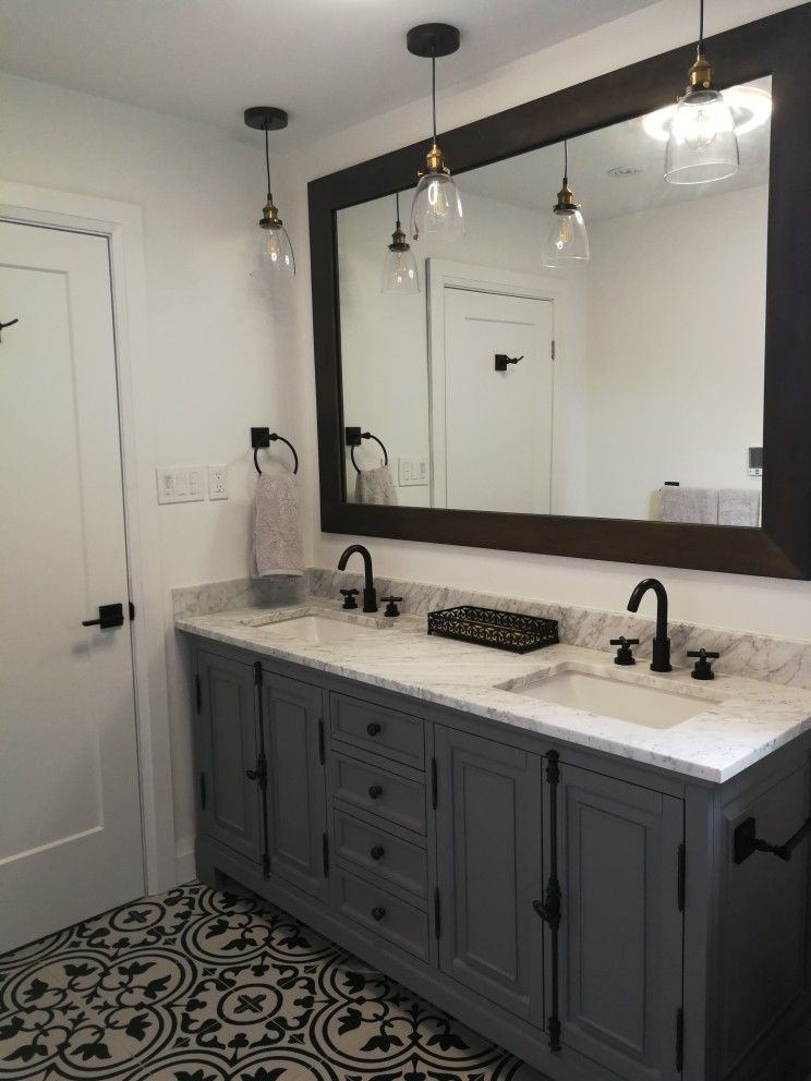Grey Bathroom Vanity With Black And White Tile White Bathroom