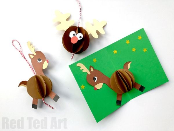 3d reindeer card diy  red ted art  make crafting with