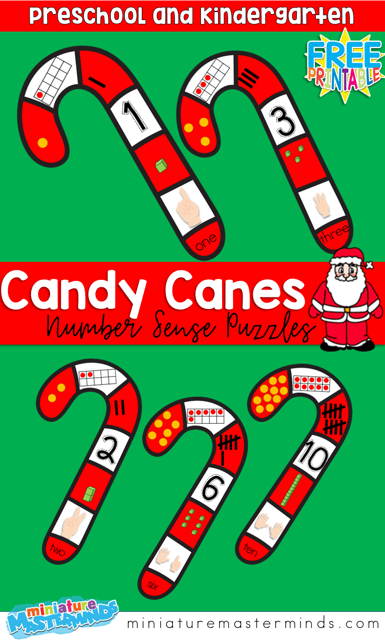 Candy Cane Number Sense Printable Puzzles 1 10 Kindergarten Puzzles Early Learning Math Christmas Math Activities [ 1280 x 768 Pixel ]