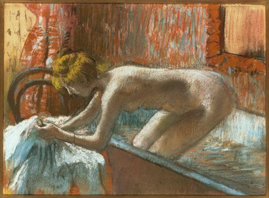 Edgar Degas, Woman Leaving Her Bath, about 1886, Pastel over monotype, Private Collection, courtesy Museum of Fine Arts, Boston.