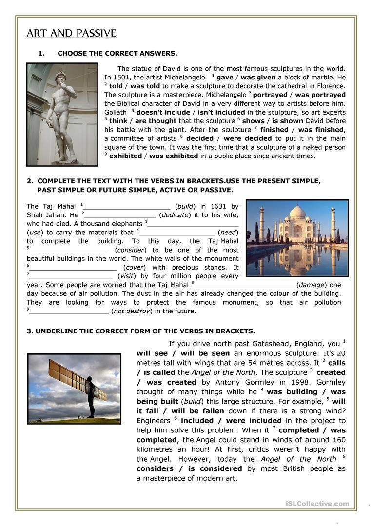 ART AND PASSIVE worksheet - Free ESL printable worksheets made by ...