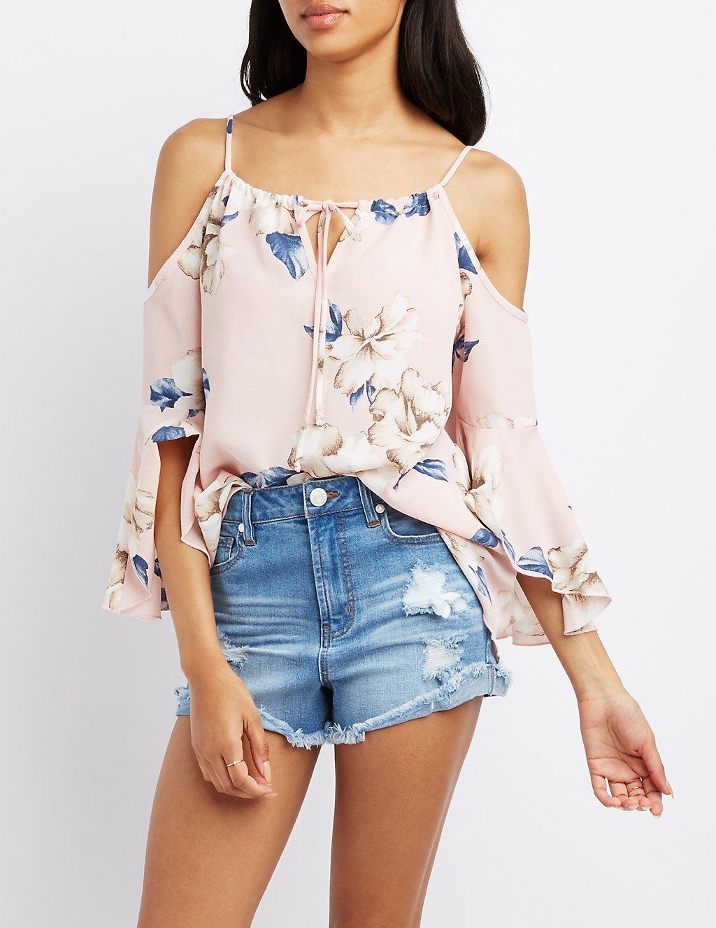 bee0145799f Floral Cold Shoulder Bell Sleeve Top in 2019 | spring and summer ...