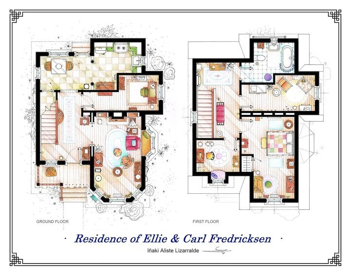 detailed floor plan drawings of popular tv and film homes | modern