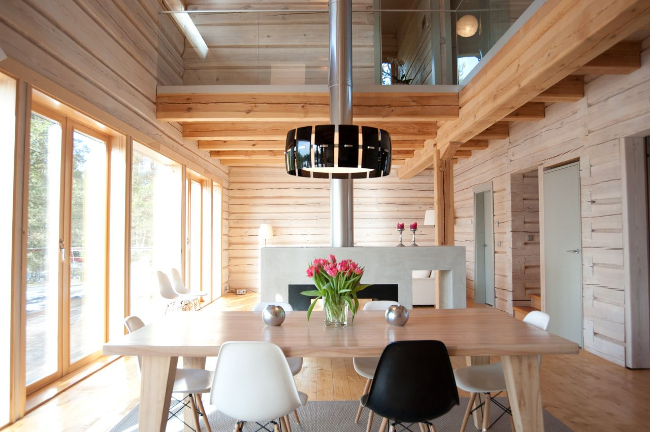 Modern log house, dining area.