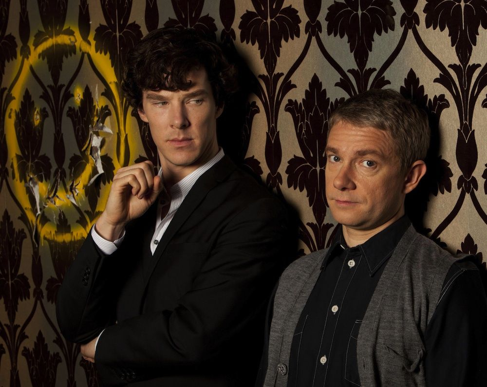 John, Sherlock and the wall that had it coming :D