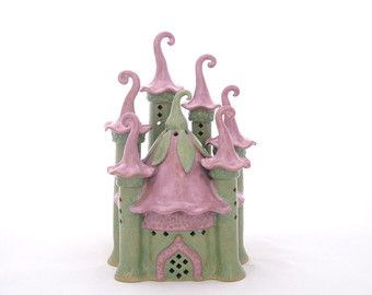 Magical Fairy Castle Handbuilt Ceramic lantern garden art gardener's gift garden sculpture women's gift fairy garden nightlight claysoul