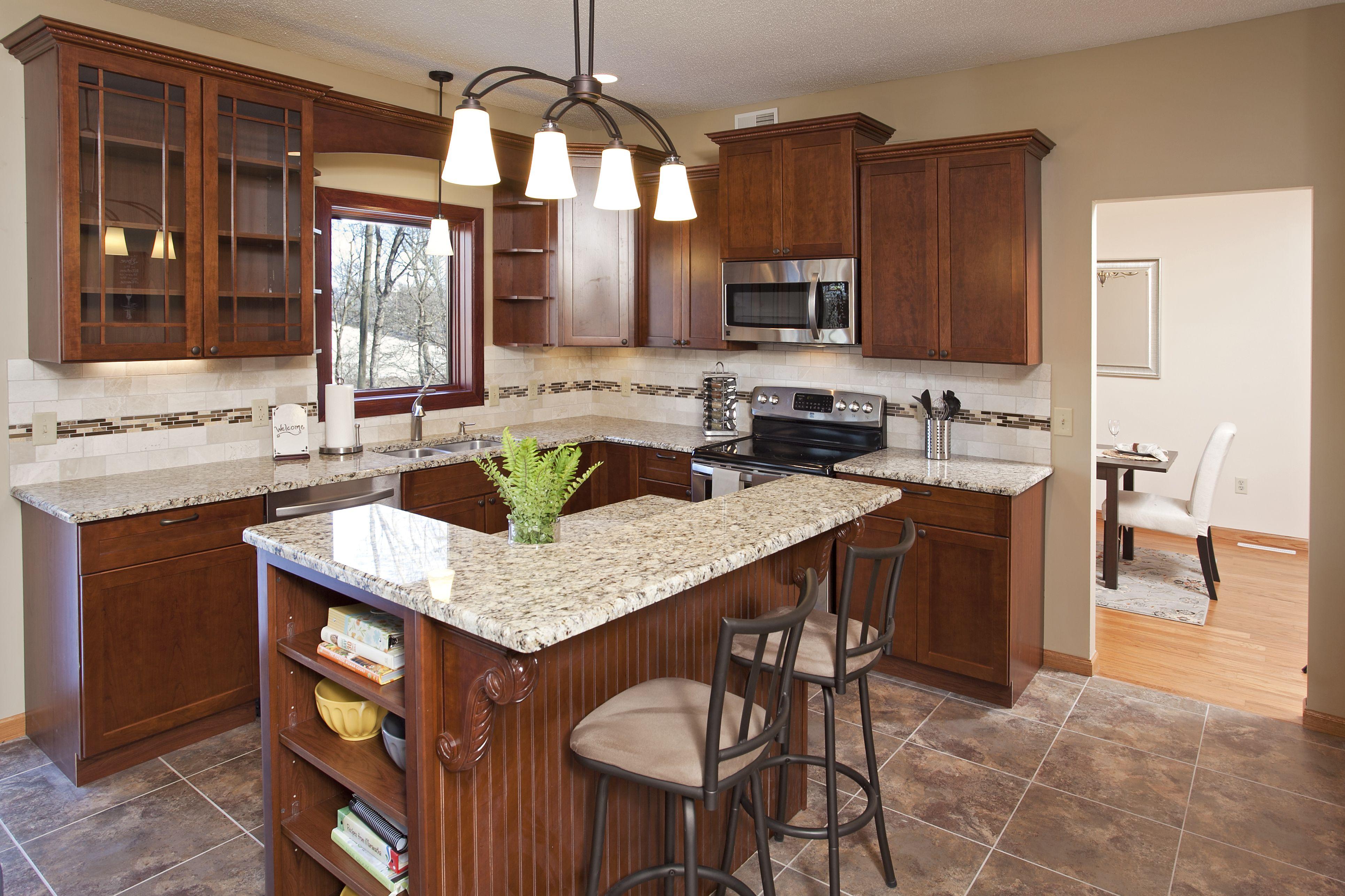 Cherry cabinets, granite countertops, tiled backsplash ... on Backsplash Ideas For Black Granite Countertops And Cherry Cabinets  id=90610
