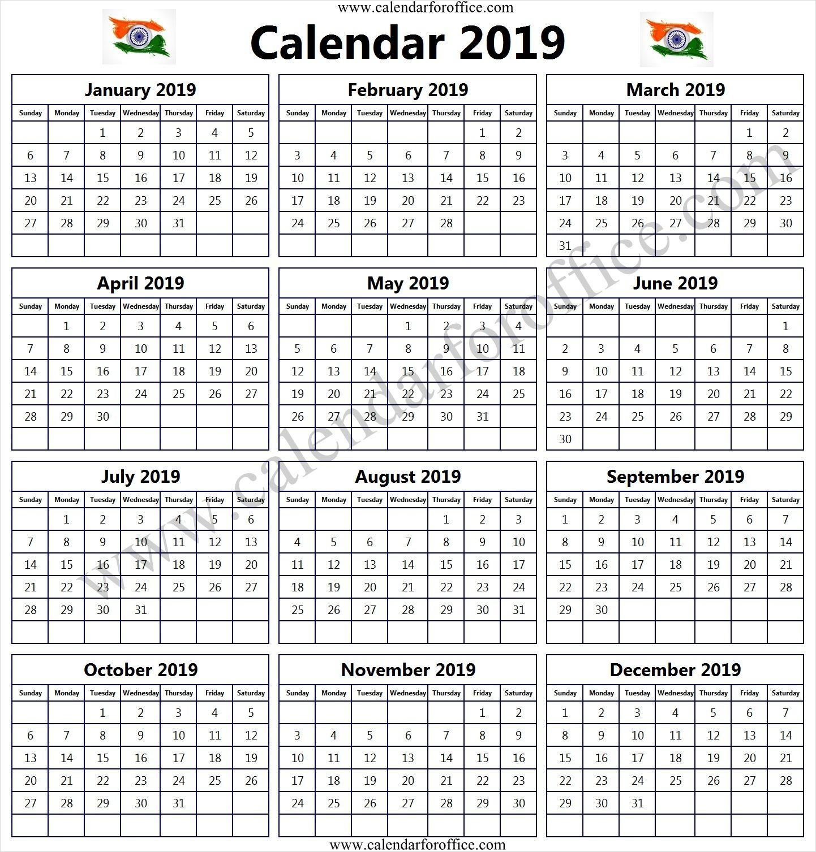 Year Calendar 2019 India Template Printable Free Calendars To