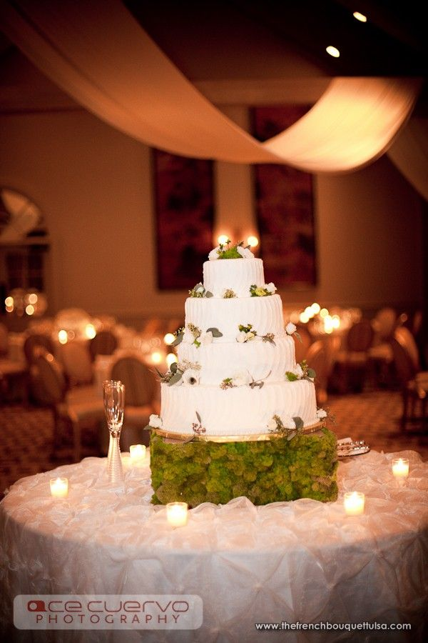 wedding cakes los angeles prices%0A Rustic Chic Wedding Cake with Green Moss Cake Stand