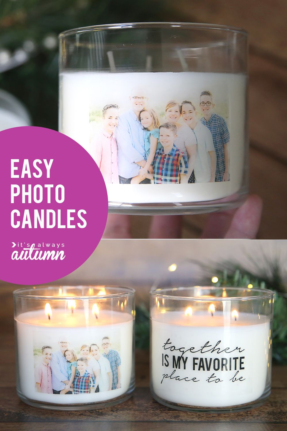 How To Make Personalized Candles Cheap Easy Handmade Gift It S Always Autumn Easy Handmade Gifts Personalized Candles Photo Candles