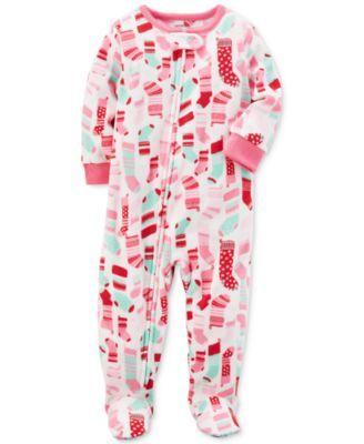 b9e758abf Carter s 1-Pc. Stocking-Print Footed Fleece Pajamas