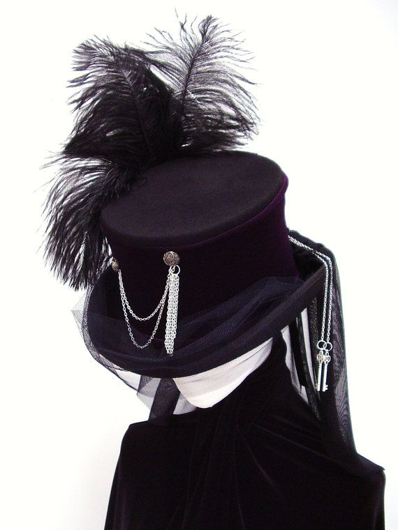 mad hatter custom made. The Lady Gailen black   purple Gothic top hat by  Blackpin on Etsy 07761043c993
