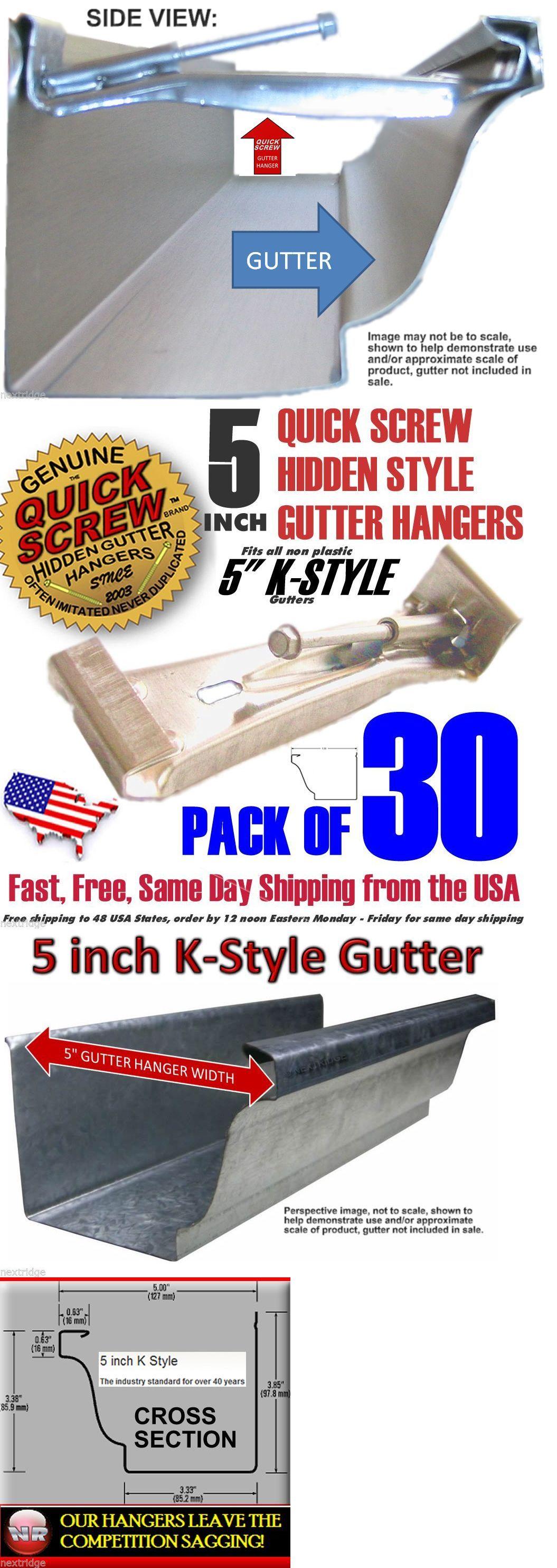 Details About 30 Premium Grade 5 Inch Quick Screw Hidden Rain Gutter Hangers With Clip Strong Rain Gutters Gutter Hanger Clips