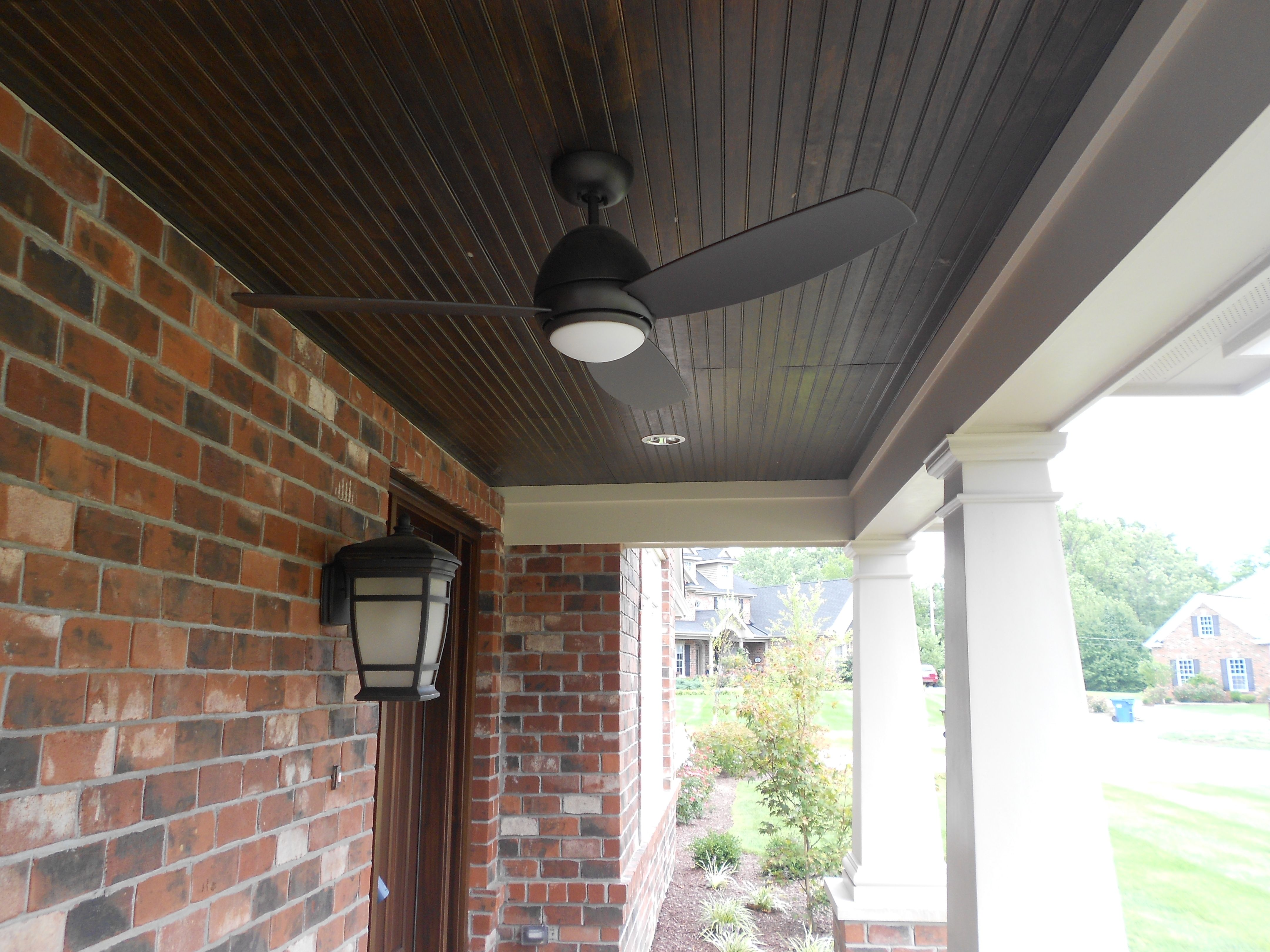 Stained Pine Porch Ceiling With Hardie Porch Beam Navajo