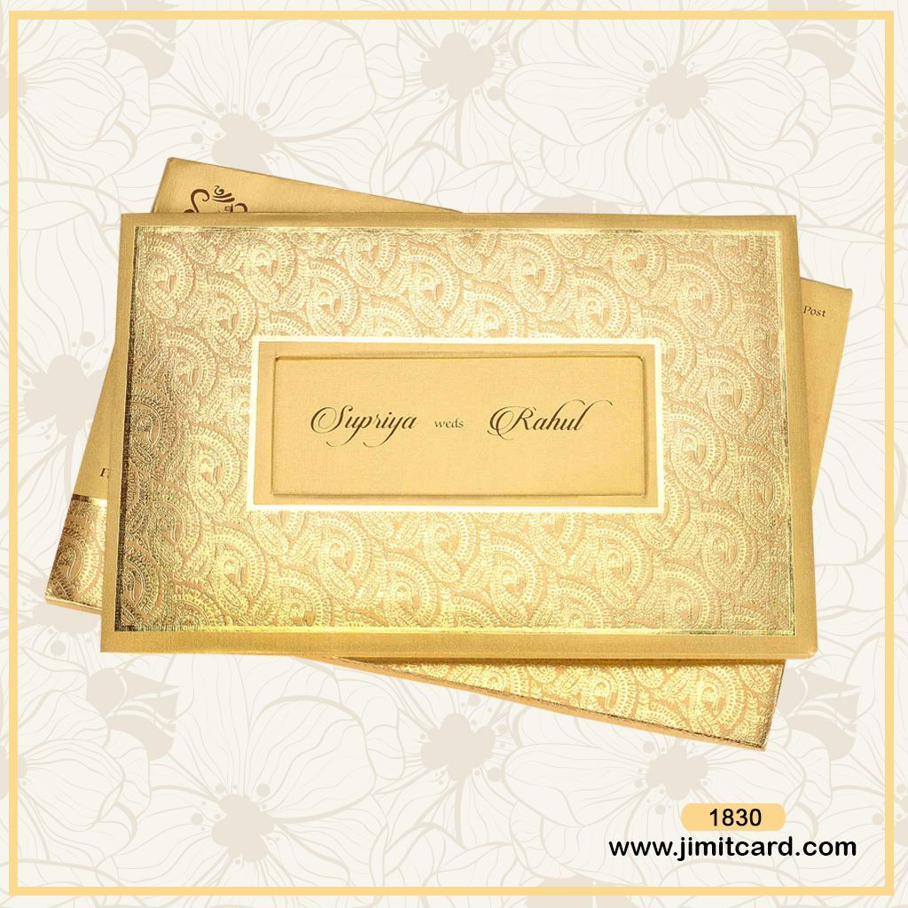 A Wedding Card Front Has Beautiful Paisley Design Pattern With Gold Plated Sticker That S Name On It Placed At Center Of The Gives Amazing