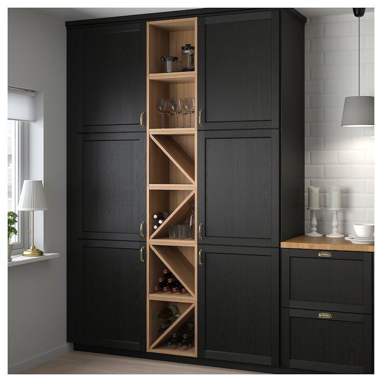 Vadholma Range Bouteilles Brun Frene Teinte Ikea Rangement Mural Cuisine Meuble Range Bouteille Etagere A Vin