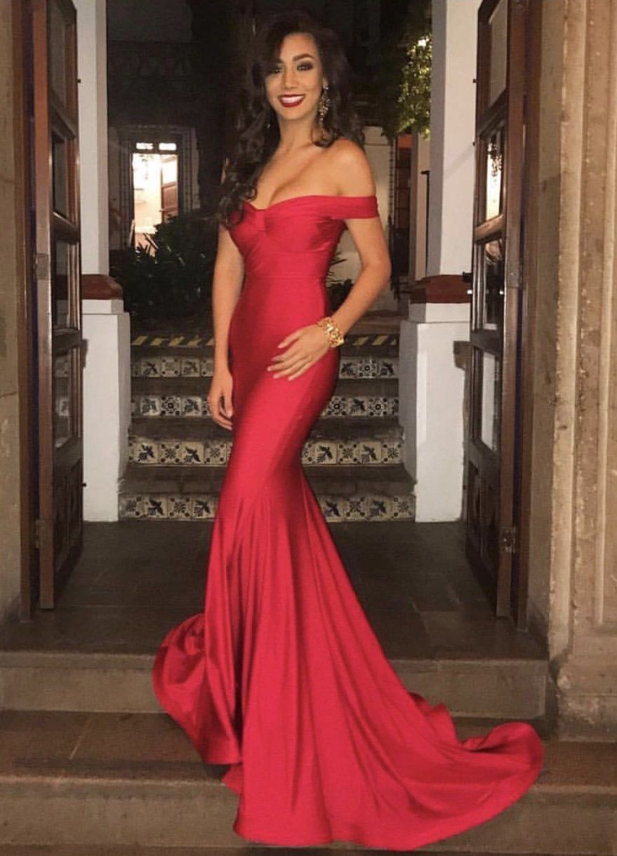 5c462c9d121 Jessica Angel 538 Off the shoulder stretch jersey evening gown ...