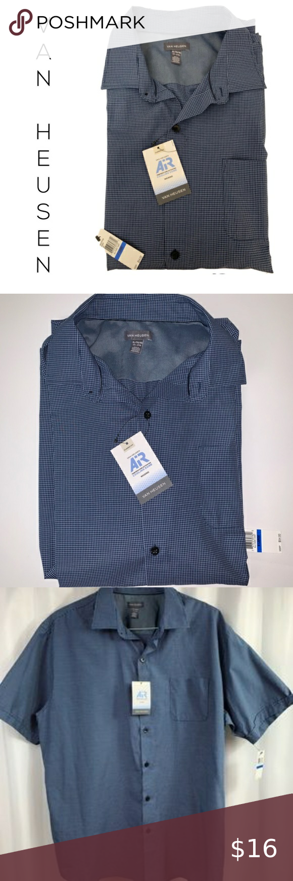 Men S Van Heusen Short Sleeve Shirt Xl Nwt In 2020 Colorful Shirts Casual Shirts For Men Clothes Design