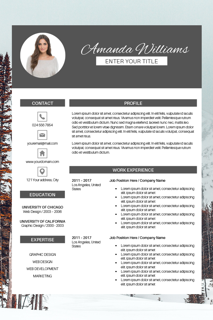 Creative Resume Template for Word & Pages Amanda
